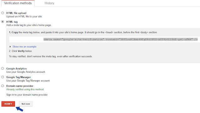 Verifying blog in Webmaster tool