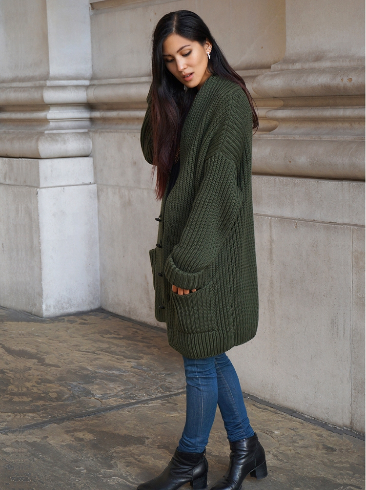 Euriental | forest green Joseph cardigan, Guess skinny jeans