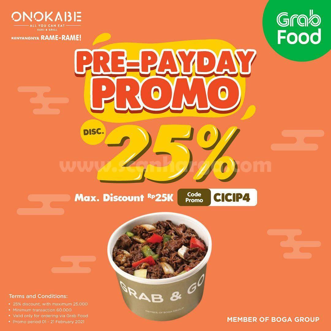 ONOKABE Spesial Promo PRE-PAYDAY GRABFOOD! DISKON hingga 25%