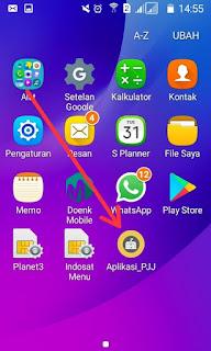 aplikasi muncul di layar