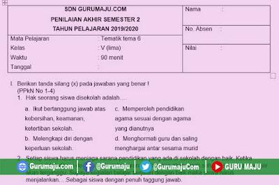 Soal PAT / UKK Kelas 5 Tema 6 Kurikulum 2013 Semester 2