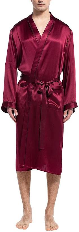 Red Men's Silk Robes