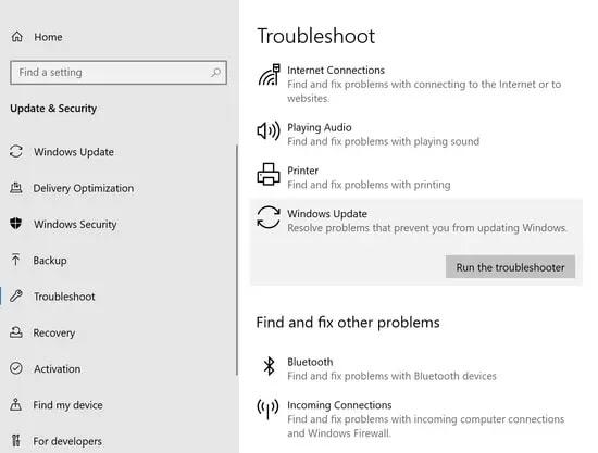 تشغيل Windows Update TroubleShooter