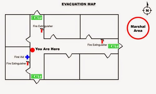 evacuation map with images of fire extinguisher first aid