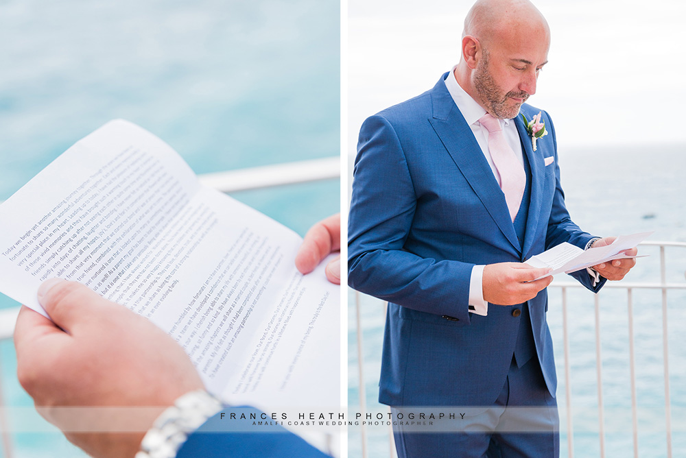 Groom reading bride's letter