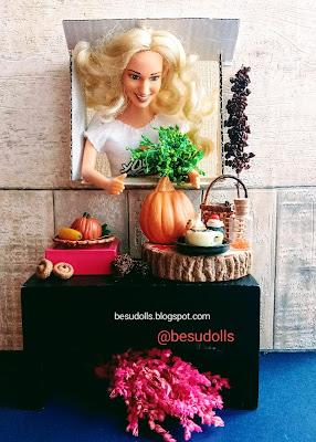 Panienka z okienka i dynia. /Miniature Pumpkin time !