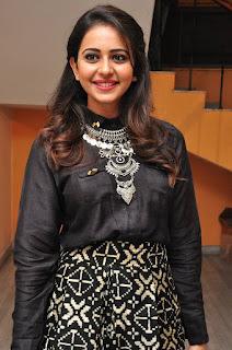Rakul Preet Singh in Black Dress at Memu Saitham Event Press Meet