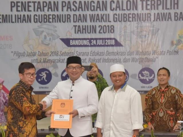 Ridwan Kamil - Uu Ruzhanul Ulum Ditetapkan Jadi Paslon Terpilih Pilgub Jabar 2018