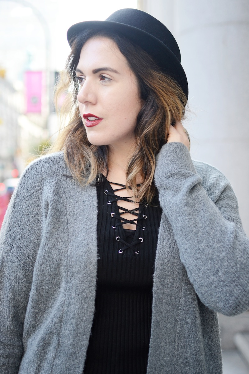 Le Chateau grey coatigan duster cardigan lace-up sweater Aritzia wool bowler hat Alexander Wang Kori boots grey Vancouver fashion blogger winter outfit idea