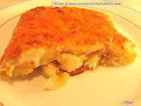 Mil hojas de láminas de patata, bacalao, Bechamel y queso