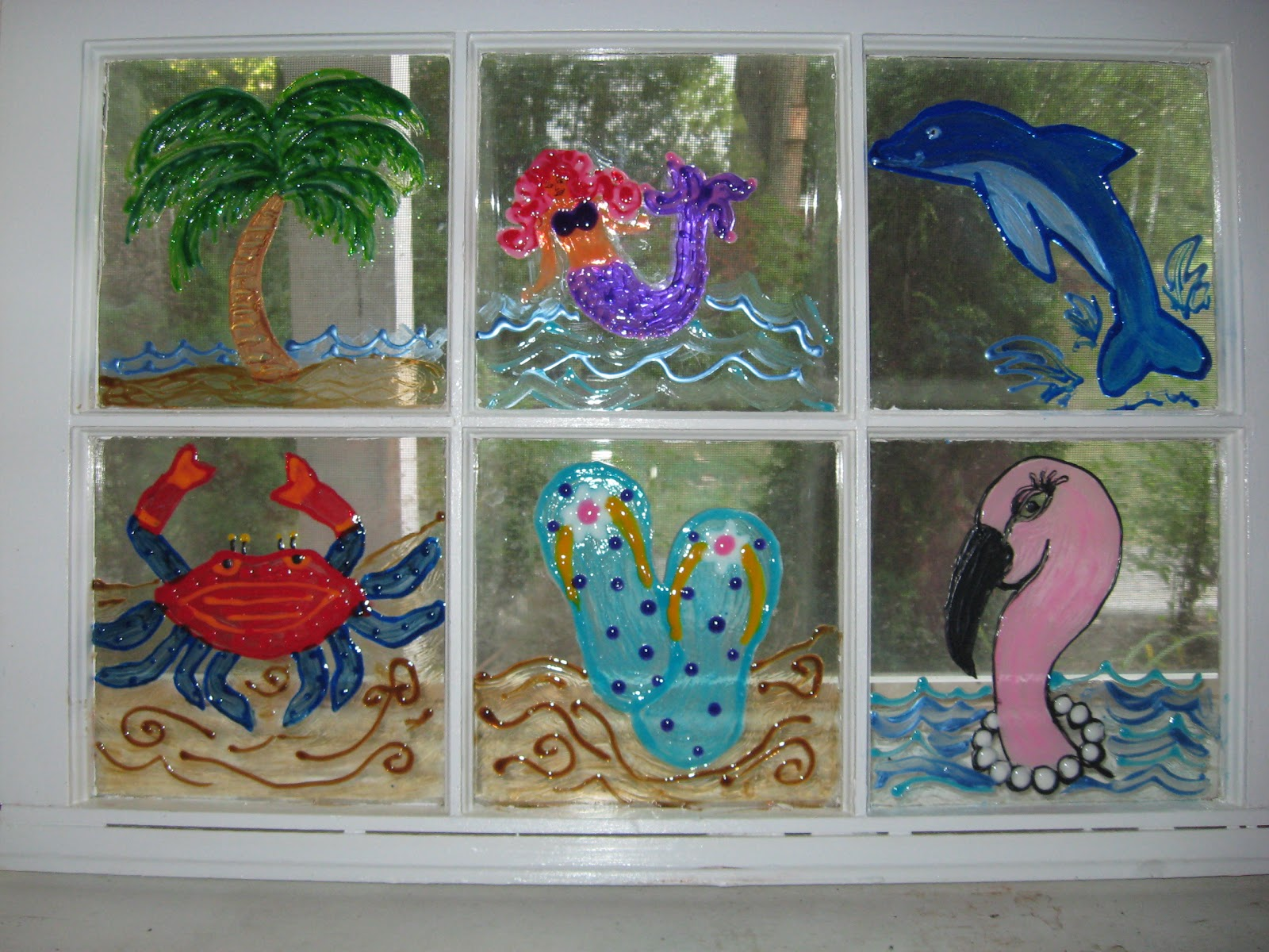 My Naptime Crafts: Beach Themed Painted Window