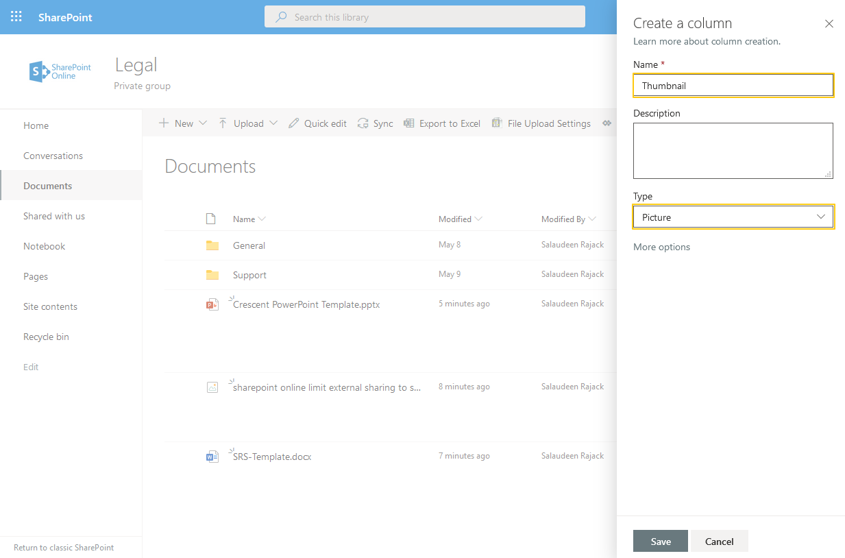 sharepoint online document library thumbnail view