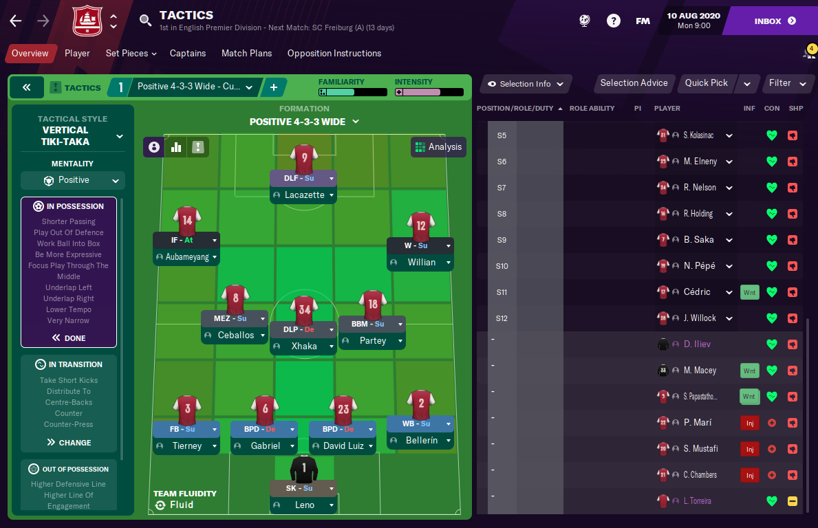Football Manager 2021 FM21 Arsenal Tactic Formation
