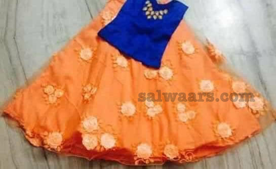 Peach Lehenga Blue Blouse