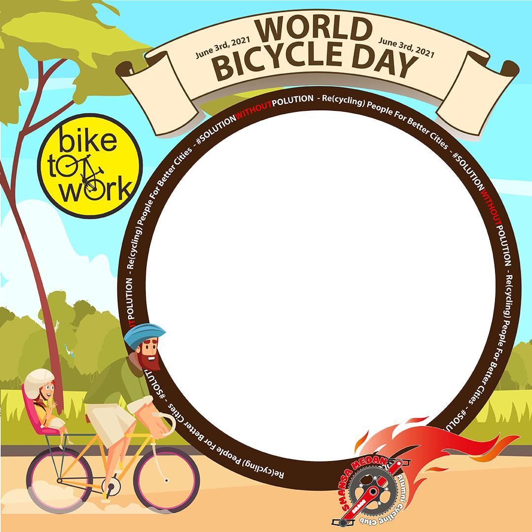 Desain Bingkai Keren Twibbon Selamat Hari Bersepeda Sedunia 3 Juni 2021 - Twibbonize