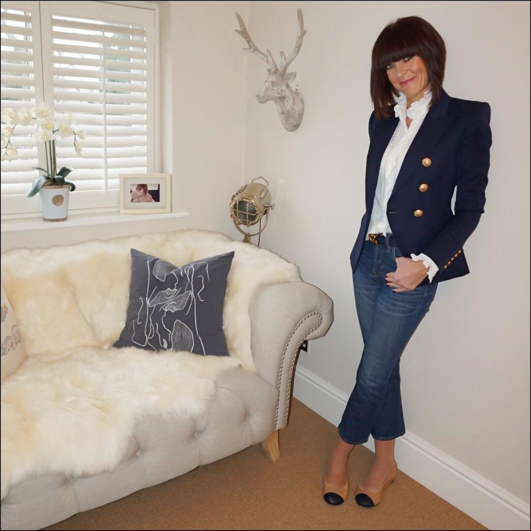 my midlife fashion, isabel marant etoile frill detail blouse, j crew billie cropped kick flare jeans, balmain double breasted wool blazer, cocorose london harrow two tone ballet pumps