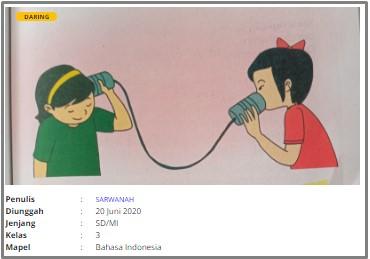 Download RPP Daring SD Kelas 3 Bahasa Indonesia