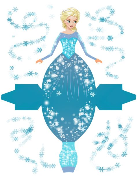 Frozen: Free Printable Dress Shaped Boxes.