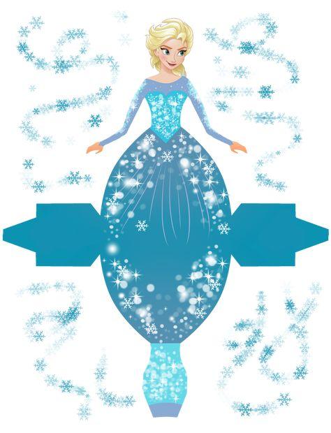 Frozen: Cajas con Forma de Vestido para Imprimir Gratis.