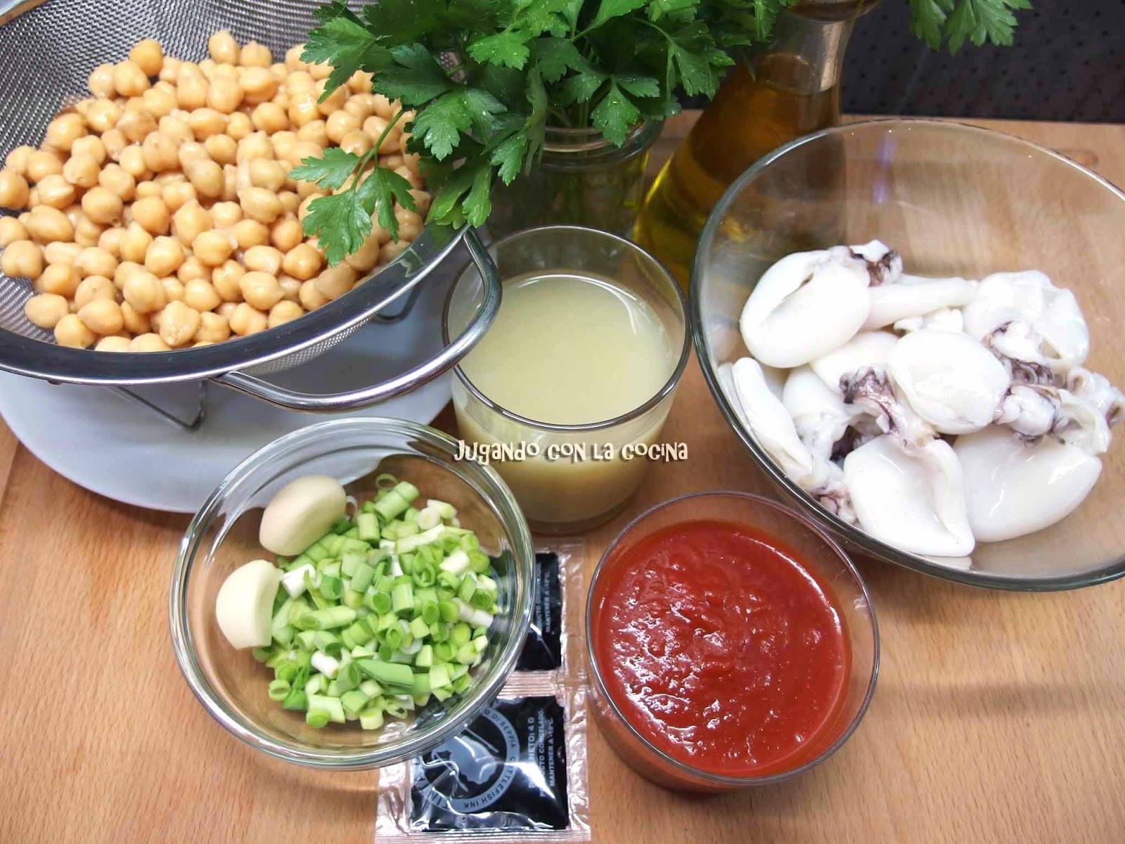 Jugando con la cocina garbanzos negros con sepietas o for Ingredientes para cocinar