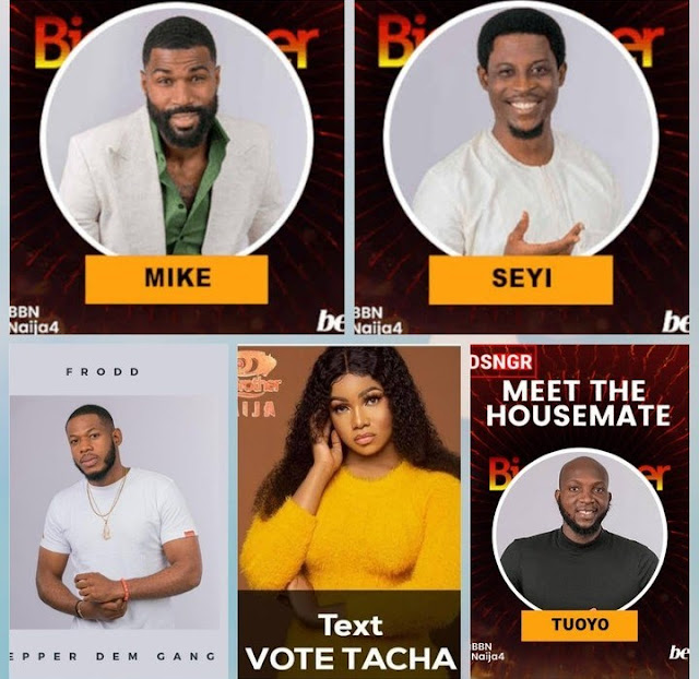 Frodd, Tacha, Tuoyo, Mike and Seyi up for possible eviction on Sunday