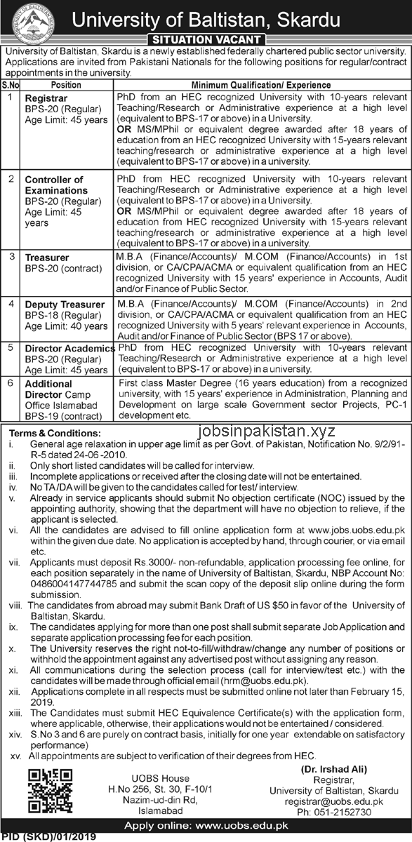Advertisement for the University of Baltistan Skardu Jobs