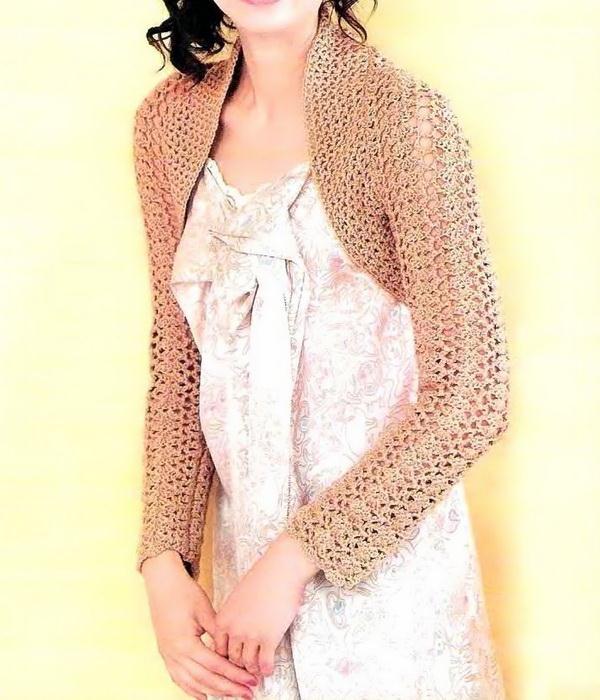 Crochet Shrug Pattern - Simple long sleeves bolero shrug - Easy crochet pattern