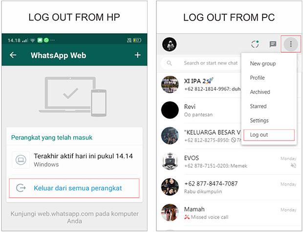 Cara Logout Aplikasi WhatsApp Web