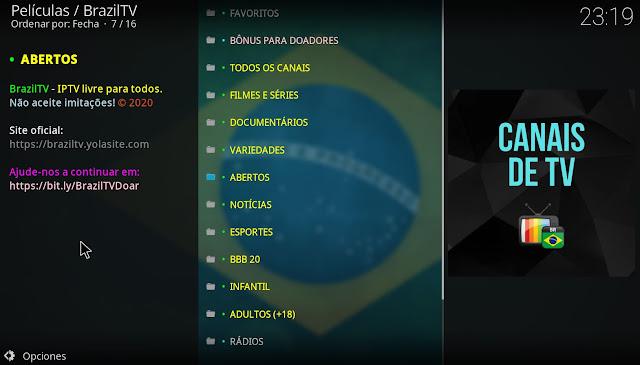 Canales TV Brazil Kodi