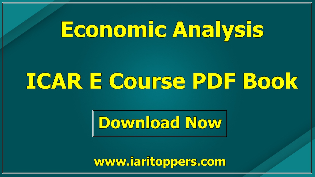 Economic Analysis ICAR e course PDF Download E Krishi Shiksha