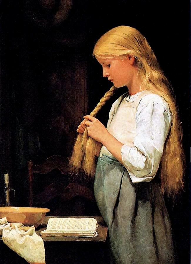 Trenant-se els cabells (Albert Anker)