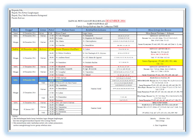 Jadwal Petugas Liturgi Bulan Desember 2016