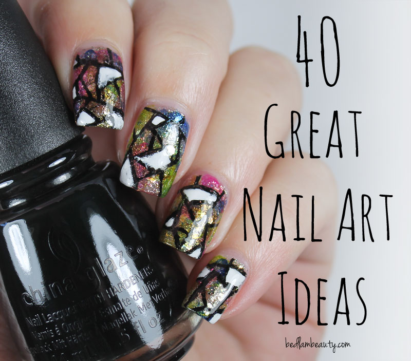 Bedlam Beauty: 40 Great Nail Art Ideas: Black & White + Stained Glass