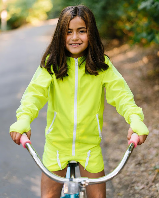 Bright reflective girls bomber jacket