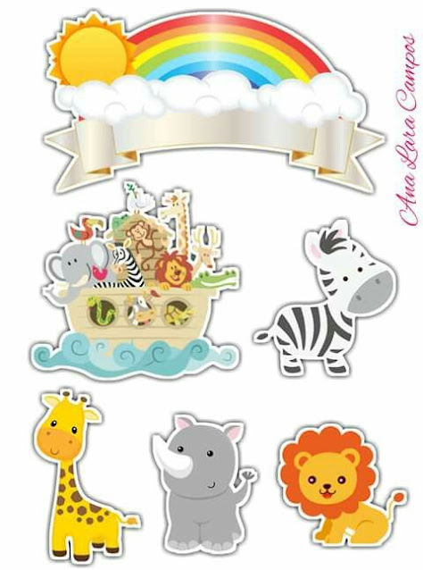 Arca de Noé Bebés: Toppers para Tartas, Bizcochos o Pasteles para Imprimir Gratis.