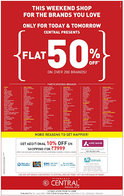 Flat 50% at Central | Big discount offers July 2016