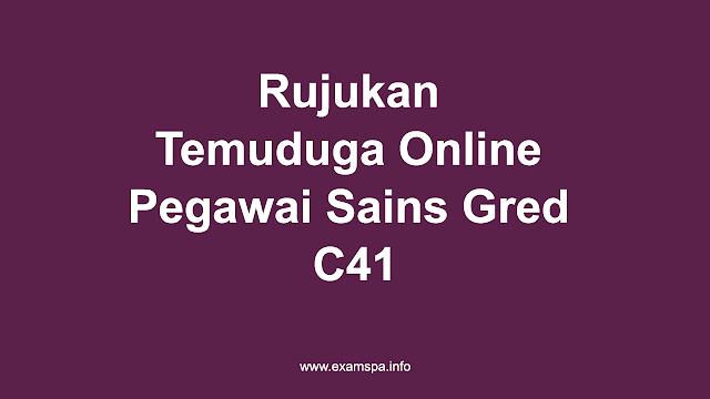 Rujukan Temuduga Online Pegawai Sains Gred C41