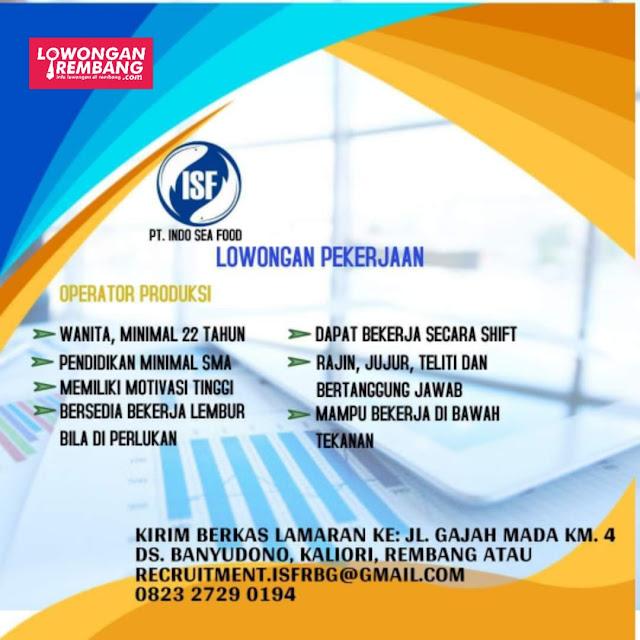 Lowongan Kerja Operator Produksi PT Indo Sea Food Rembang