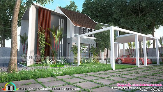 Fusion style 2600 sq-ft 4 bedroom home design