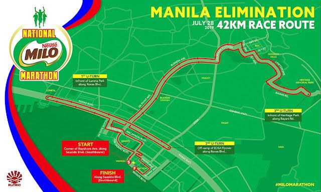 43rd Milo Marathon 2019 - 42k route map