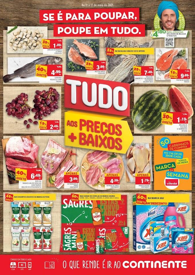 """Folheto semanal CONTINENTE """"Se é para Poupar, Poupe em Tudo"""" com promoções de 11 a 17 de maio"""
