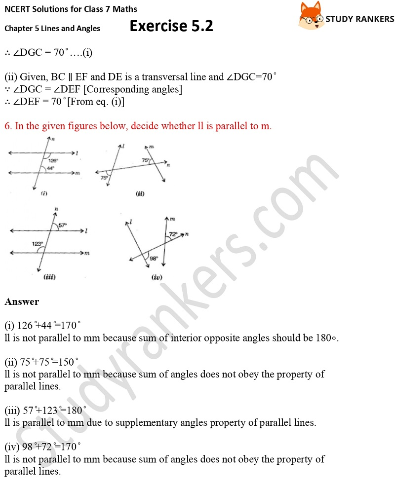 NCERT Solutions for Class 7 Maths Ch 5 Lines and Angles Exercise 5.2 4