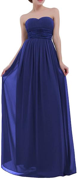 Luxurious Blue Chiffon Bridesmaid Dresses