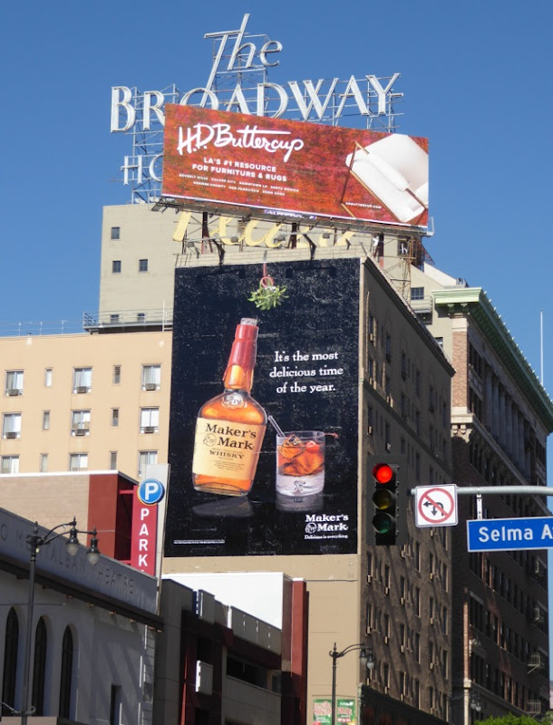 Maker's Mark mistletoe billboard