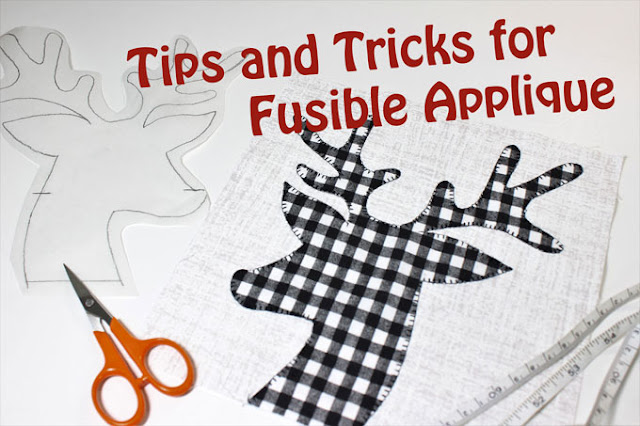 black and white check deer head on grey background for tips and tricks for fusible applique tutorial by QuiltFabrication