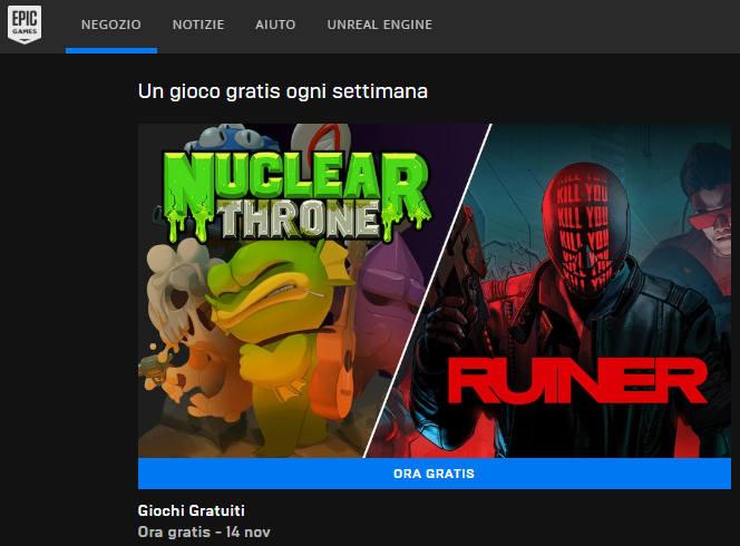 Epic Games Store sezione Un gioco gratis a settimana