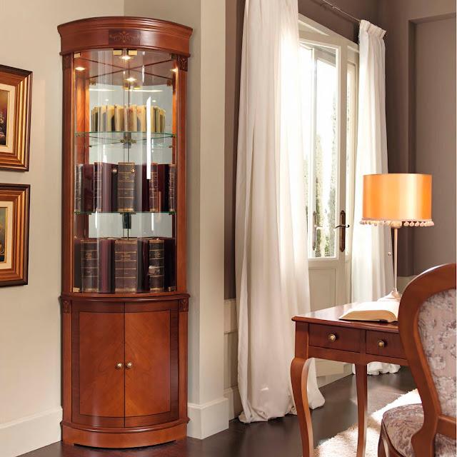 Muebles de sal n vitrinas rinconeras de estilo clasico - Vitrinas para salones ...