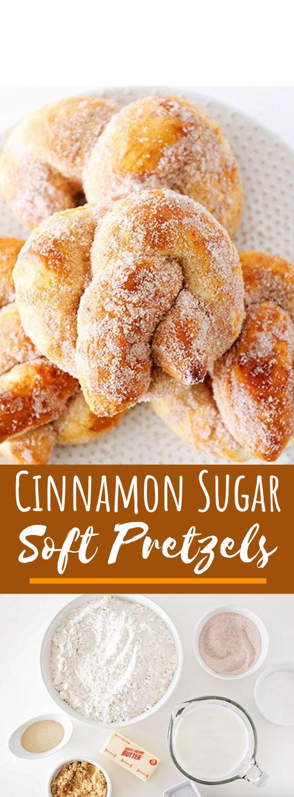 Cinnamon Sugar Soft Pretzels #desserts #recipes