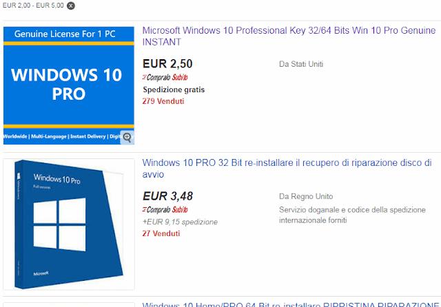 Pagina dei risultati di ricerca eBay con licenze OEM Windows 10