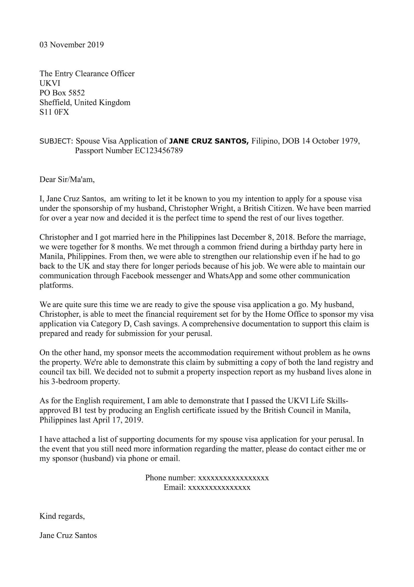 Sample Cover Letter For Spouse Visa